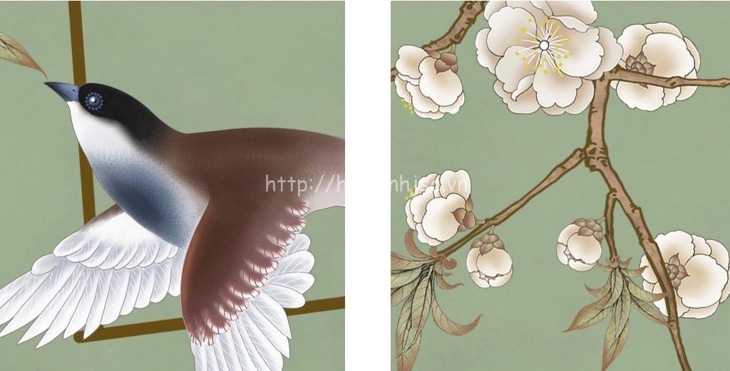 Tranh dán tường 5D - Tranh chim én hoa đào phong cách vẽ tay 5D019