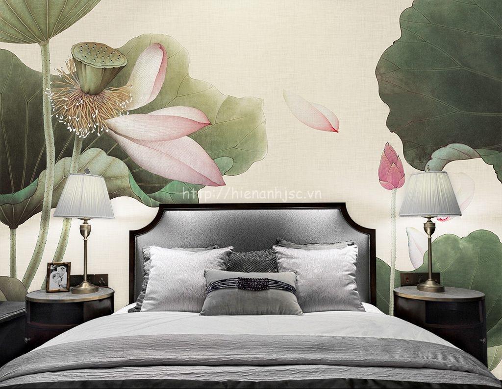 Tranh dán tường 3D khổ lớn hoa sen cho phòng ngủ