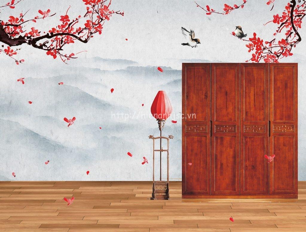 Tranh dán tường 5D - Tranh hoa đào 5D022