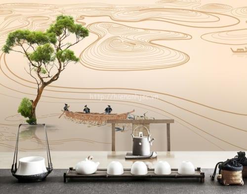 3d023-8-tranh phong cảnh 3D dán tường