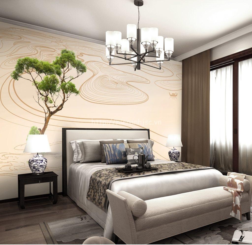 Tranh dán tường 5D - Tranh phong cảnh kết hợp vân gỗ hiện đại 5D023