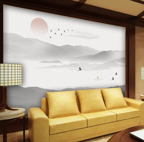 3d024-2-tranh dán tường 5D khung cảnh hoàng hôn