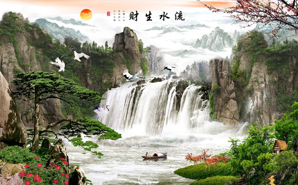 Tranh dán tường 5D - Tranh thiên nhiên thác nước 5D011