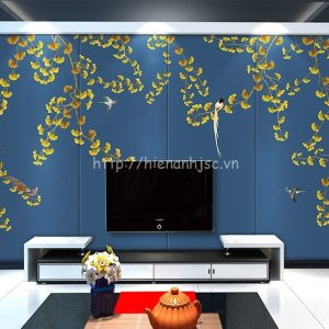 Tranh 5D vẽ tay hoa ginkgo và chim dán tường