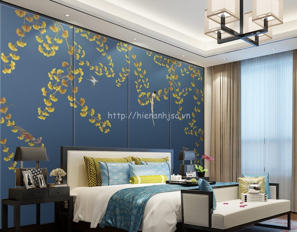 Tranh dán tường 5D - Kiểu tranh vẽ tay hoa ginkgo và chim 5D012