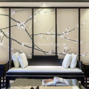 5D014-8-tranh hoa anh đào 3D dán tường