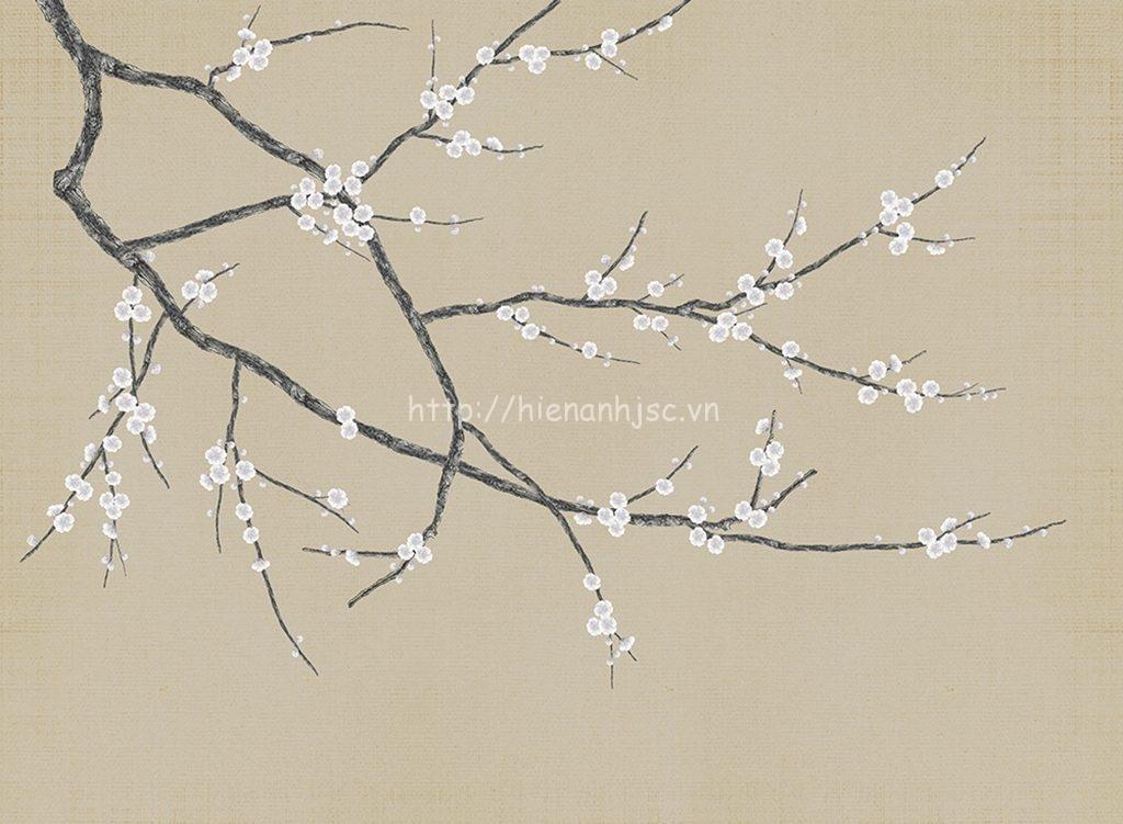 Tranh dán tường 5D - Tranh hoa đào trắng 5D014