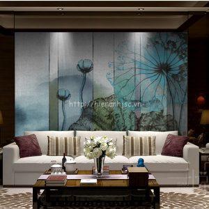 5D015-4-tranh hoa sen dán tường 3D