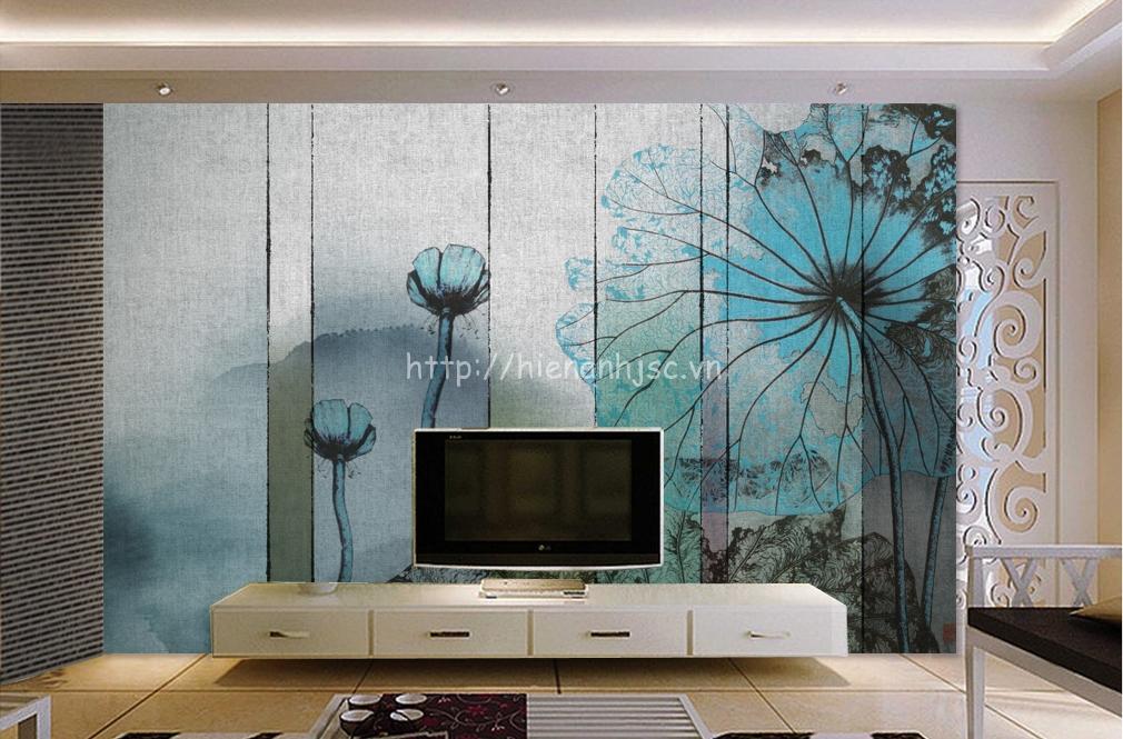 Tranh dán tường 5D - Tranh hoa sen 5D015