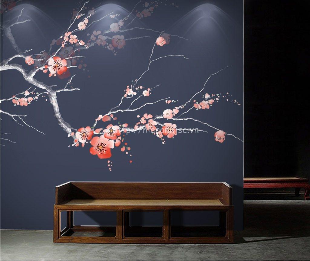 Tranh dán tường 5D - Tranh hoa đào phong cách vẽ tay 3D016