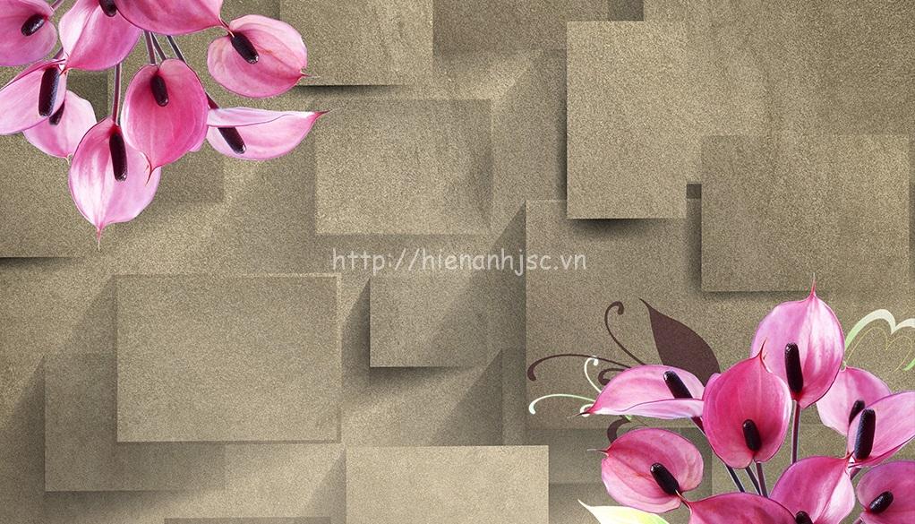 Tranh dán tường 5D - Tranh hoa kết hợp chi tiết hiện đại 5D033