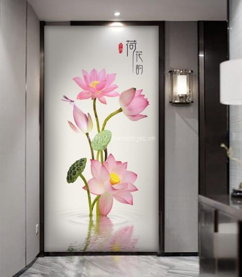 Tranh hoa sen dán tường vẽ tay - 5D142