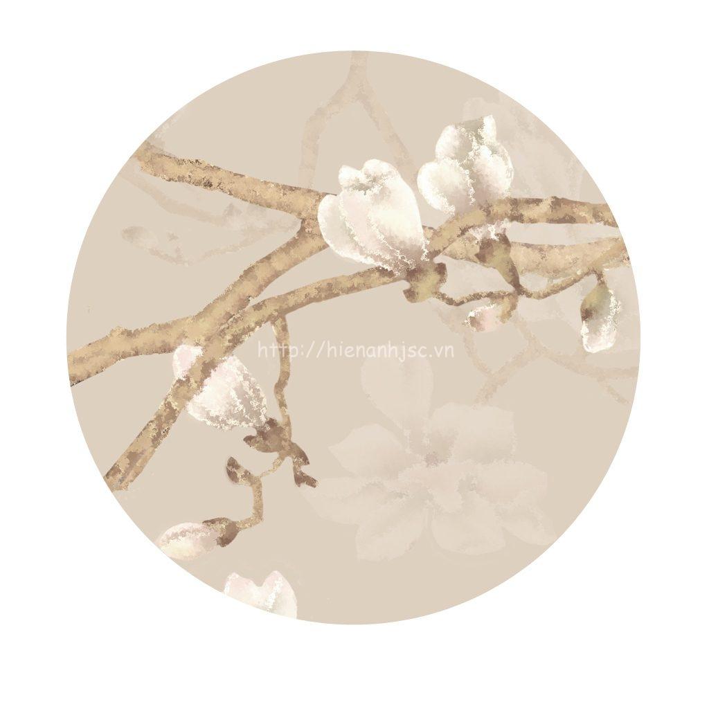 Tranh dán tường 5D - Tranh hoa anh đào trắng 5D013