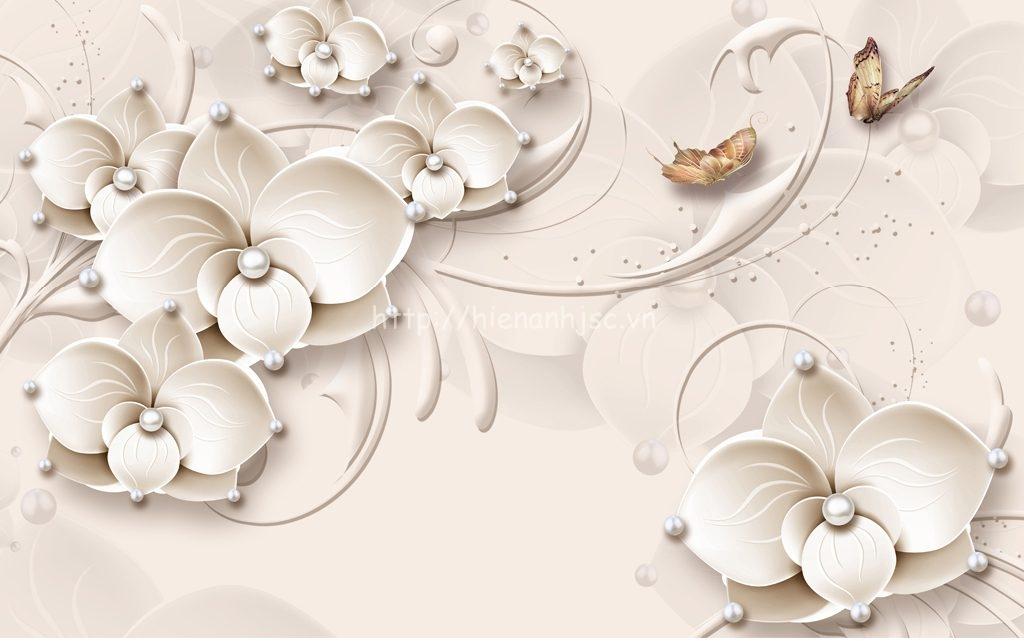 Tranh dán tường 5D - Tranh hoa trang sức hiện đại 5D017