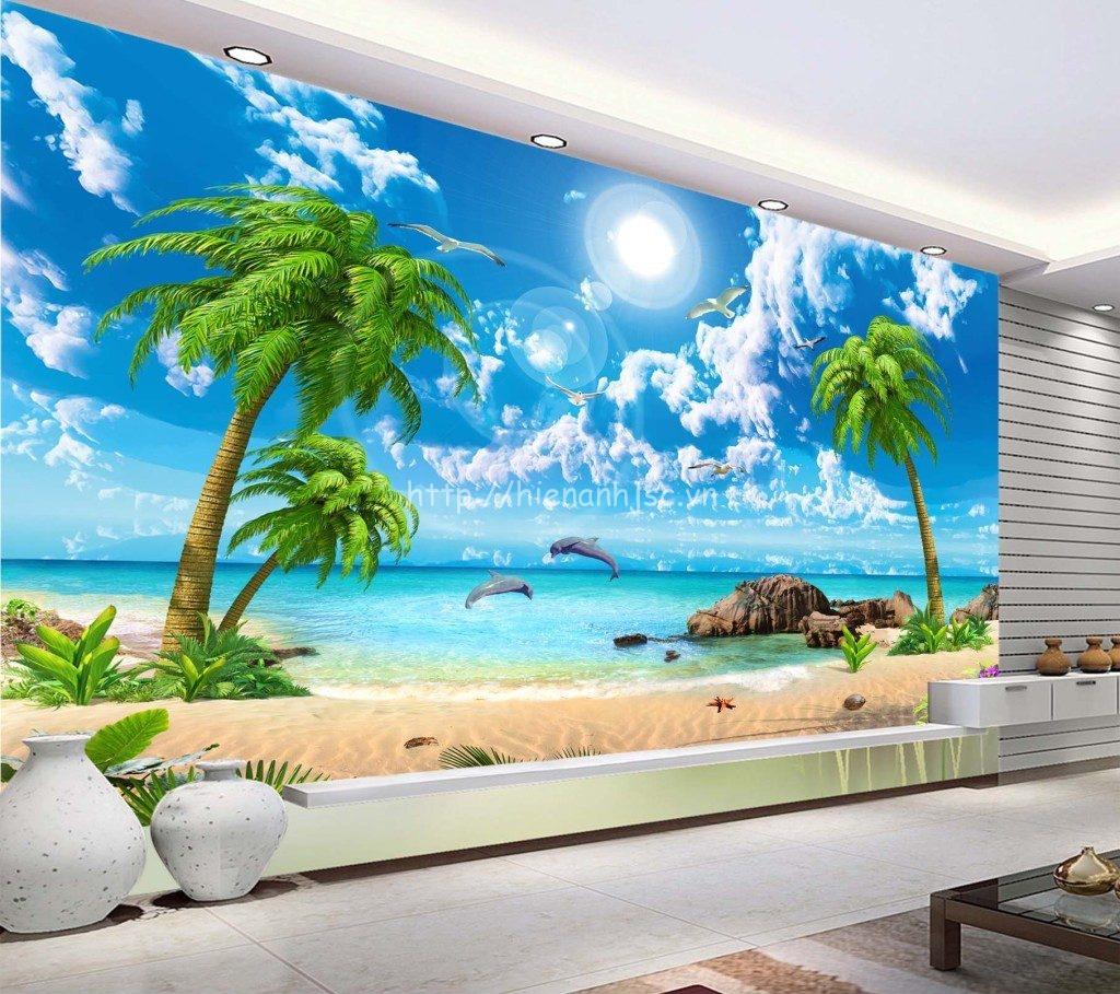 Tranh dán tường 5D phong cảnh biển cho phòng khách