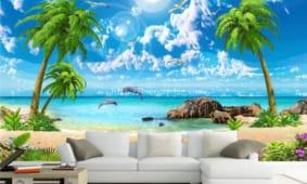 Tranh dán tường 3D phòng khách | Mẫu tranh 5D in nổi cao cấp Hiển Anh