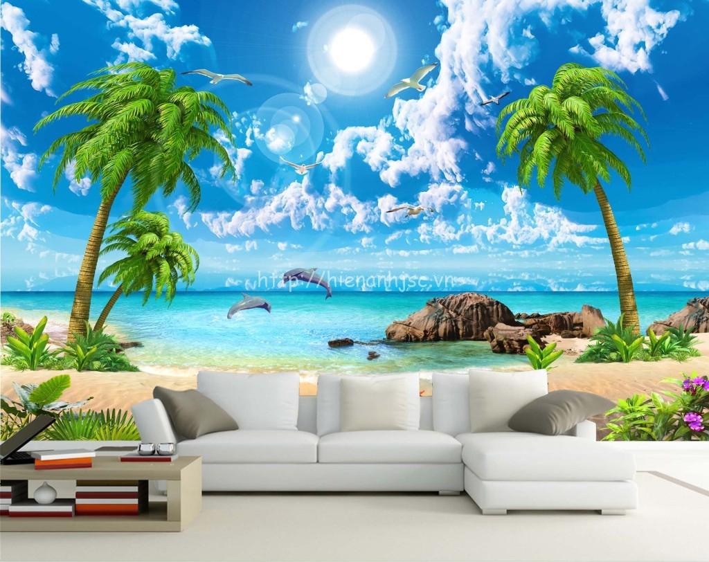 Tranh dán tường bãi biển cao cấp - 5D028