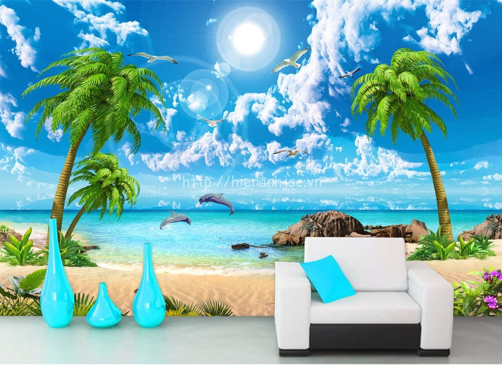 Tranh dán tường bãi biển đẹp - 5D028