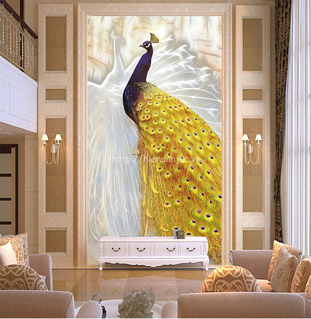 Tranh dán tường 5D - Tranh chim công vàng 5D029