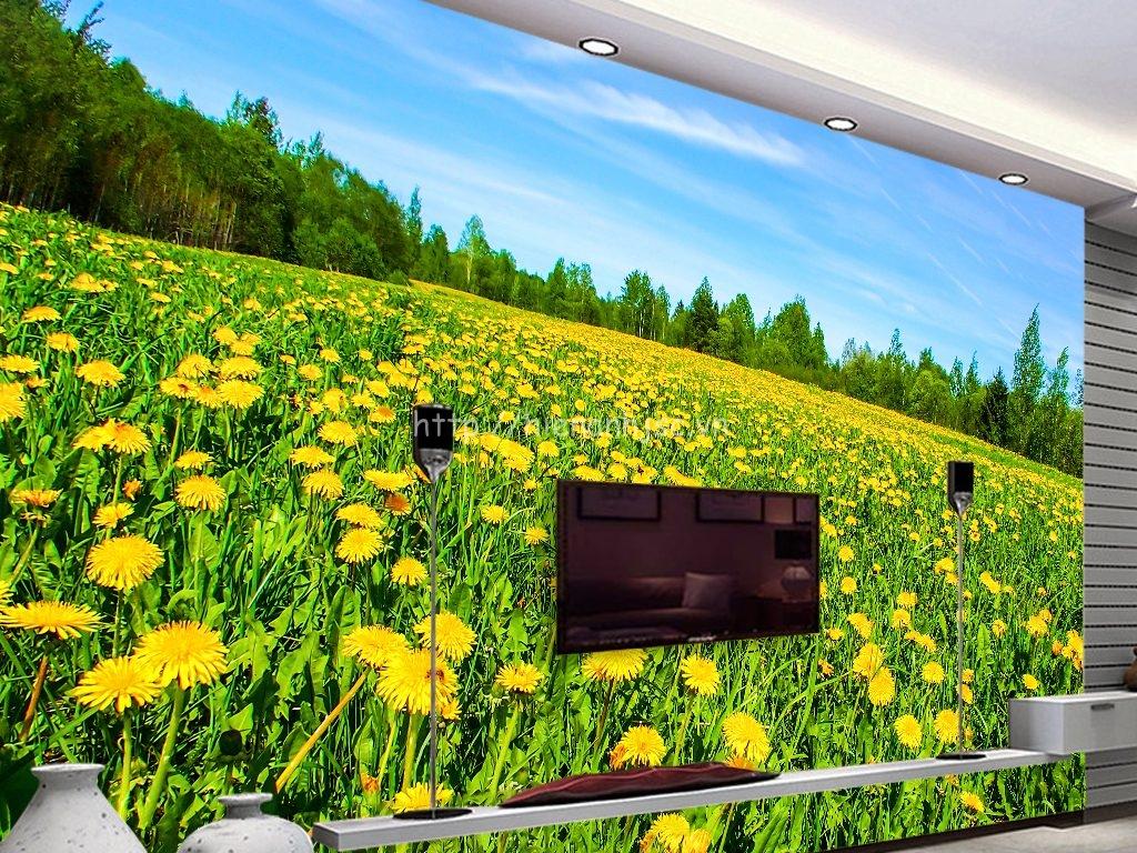 Tranh dán tường 5D - Tranh cánh đồng hoa vàng 5D030