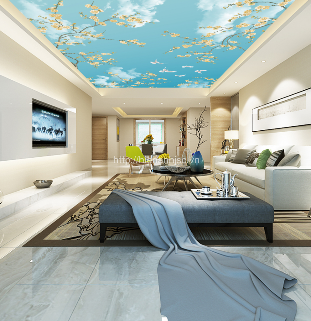 Giấy dán trần nhà phòng khách sang trọng 5D003