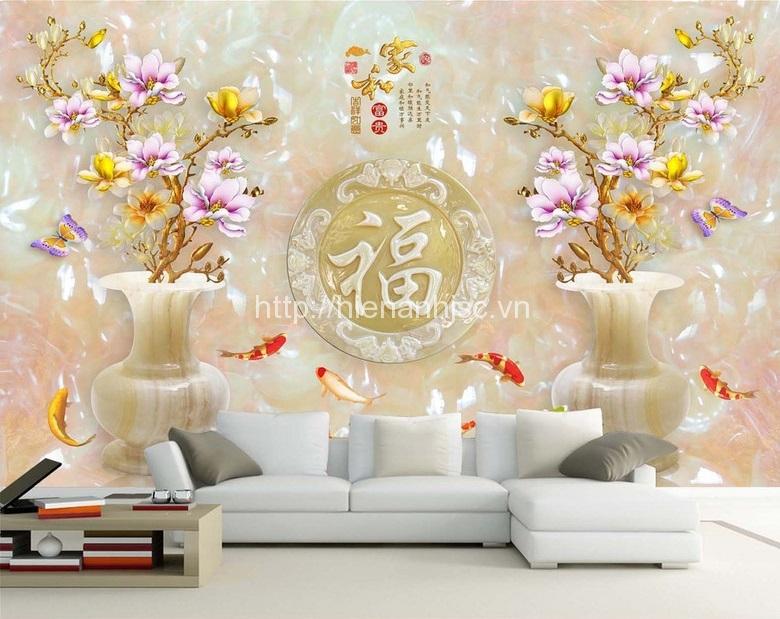 Giấy dán tường 3D 5D phòng khách tại Thanh Hóa
