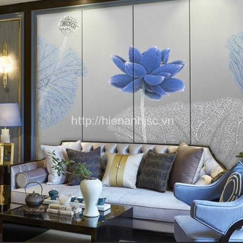tranh dan tuong 5d hoa sen xanh 5