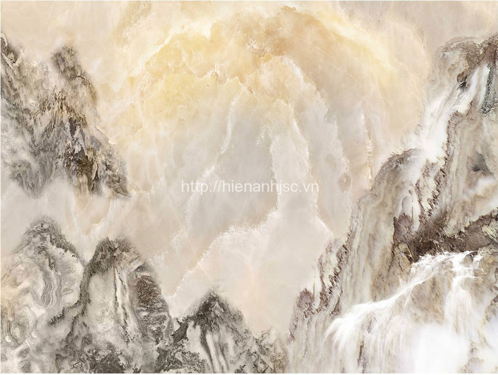 Giấy dán tường 3D phong cảnh sông núi đá cẩm thạch