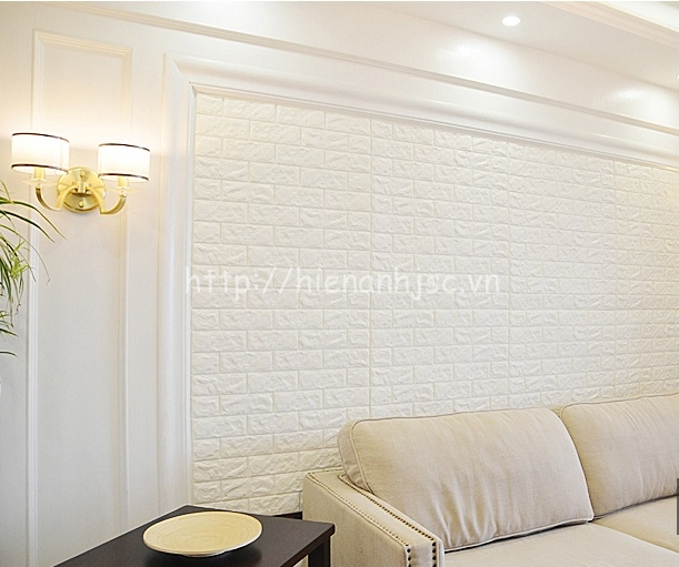 Tạo điểm nhấn với xốp dán tường giả gạch màu trắng
