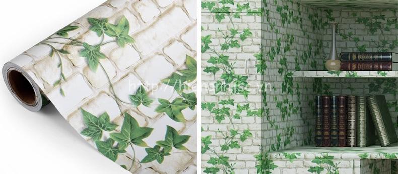 Giấy dán tường 3D - Họa tiết giả gạch màu trắng và lá xanh