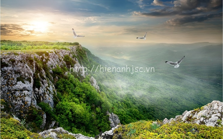 Tranh dán tường 5D - Bối cảnh sườn núi hùng vĩ