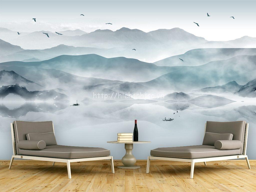 Tranh dán tường 5D - Tranh hồ núi bao phủ sương mờ 5D044