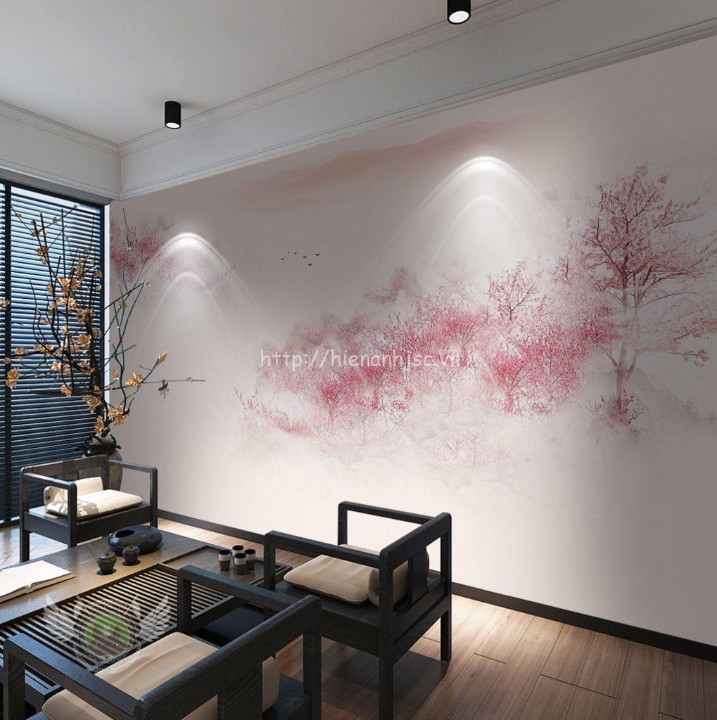 Tranh dán tường 5D - Tranh rừng hoa đào trong sương mờ 5D046