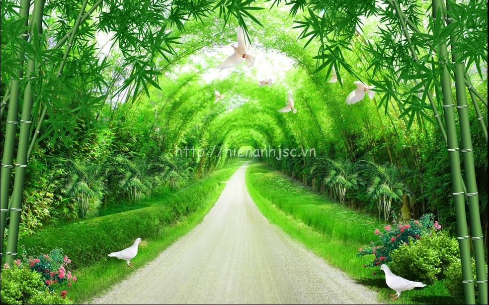 Tranh dán tường thiên nhiên chủ đề con đường tre