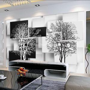 5D049-4-Tranh 5D cây đen trắng dán tường