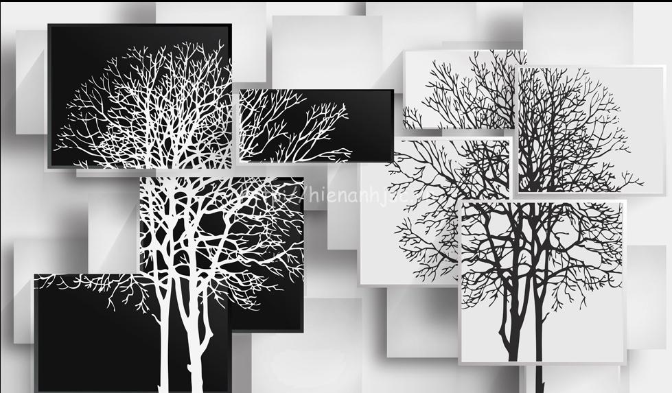 Tranh dán tường 5D - Bối cảnh cây đen trắng hiện đại 5D049