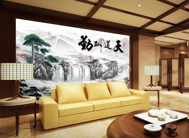 Tranh dán tường 5D - Tranh thác nước phong cách Trung Quốc 5D051