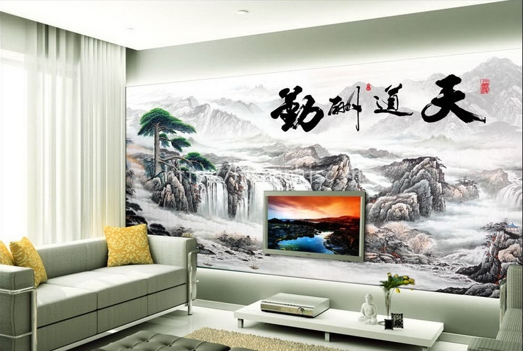 Tranh sơn thủy 5D phong cách trung hoa dán phòng khách