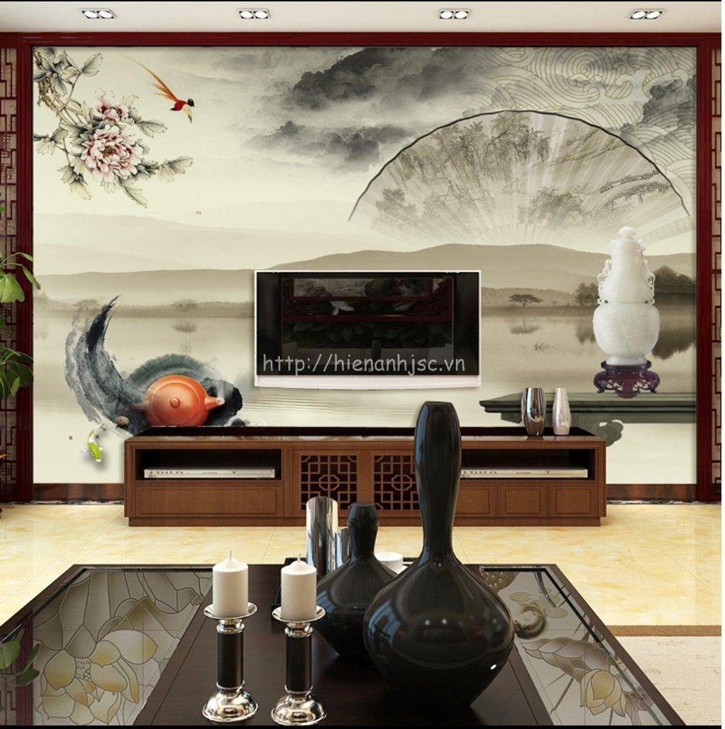 Tranh dán tường 5D - Tranh tối giản kết hợp chi tiết phong cách Trung Quốc 5D052