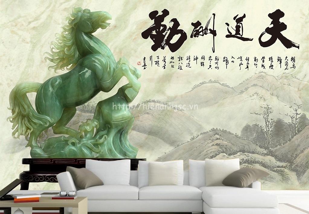 Tranh dán tường 5D - Tranh ngựa giả ngọc phong cách Trung Quốc 5D053