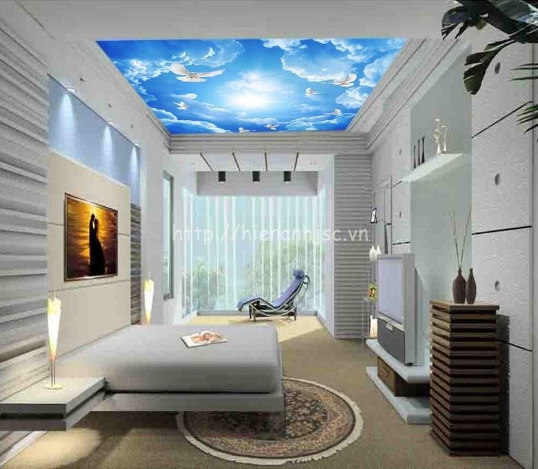 Tranh dán tường 5D - Tranh dán trần trời xanh mây trắng 5D058