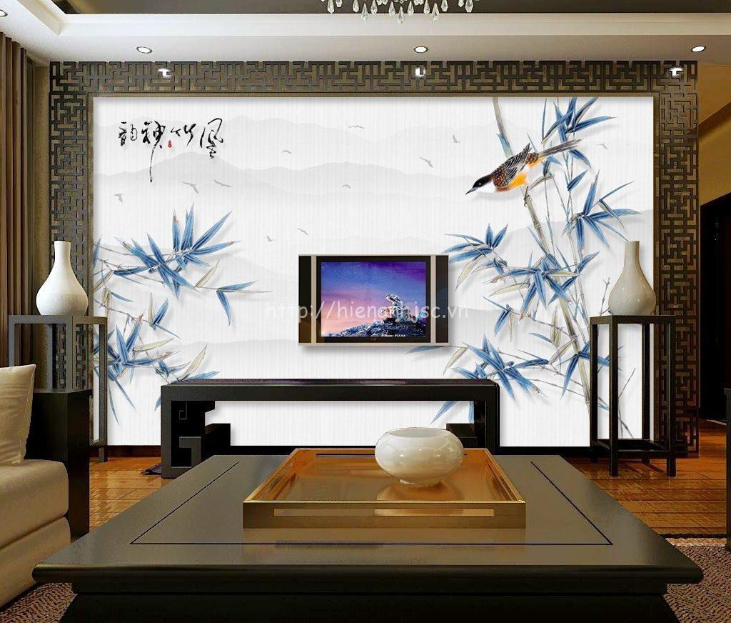Tranh dán tường 5D - Tranh lá tre vẽ tay phong cách Trung Quốc 5D060