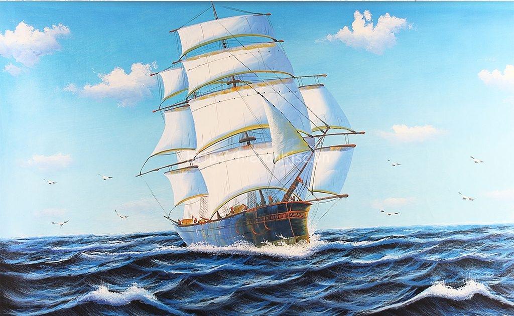 Tranh dán tường 5D - Tranh thuận buồm xuôi gió phong cách sơn dầu 5D061