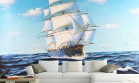 Giấy dán tường 3D phong cảnh, tranh phong cảnh 5D dán tường đẹp