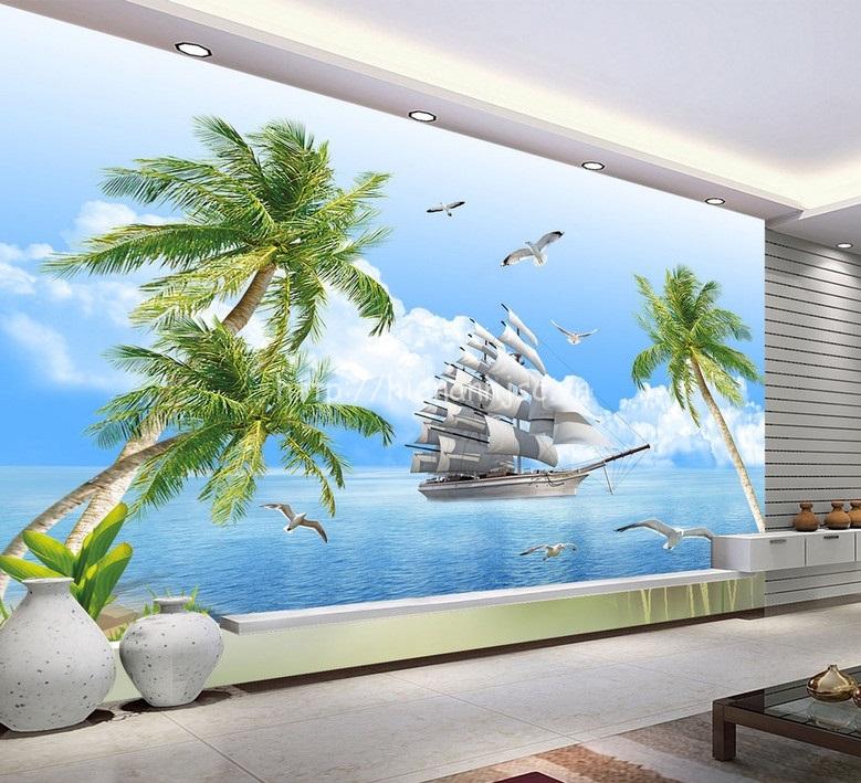 Tranh dán tường thuyền và biển cho phòng khách tươi mới - 5D064