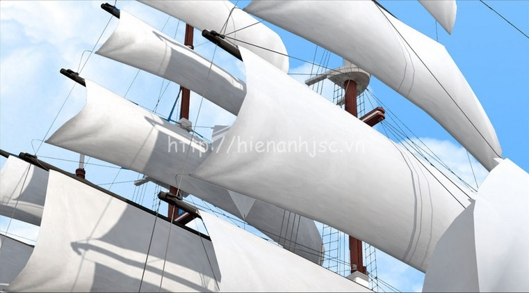 Tranh dán tường 5D - Tranh thuyền buồm biển xanh 5D064