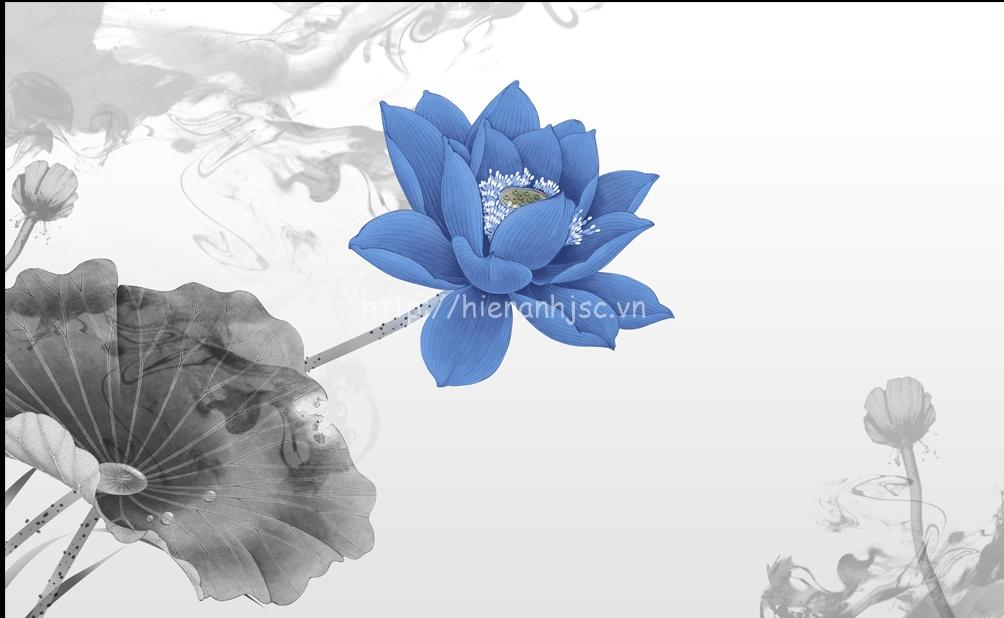 Tranh dán tường 5D - Tranh hoa sen xanh 5D068
