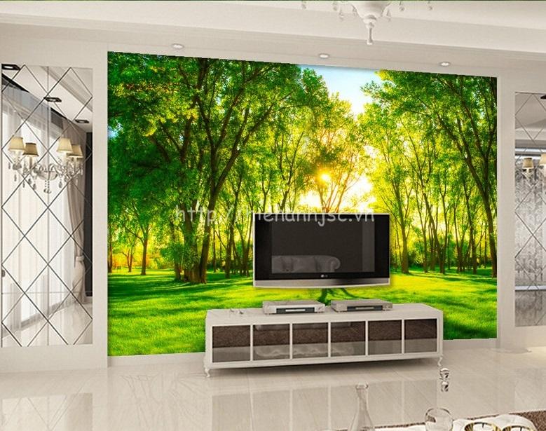 Tranh dán tường 5D rừng cây cho người mệnh mộc