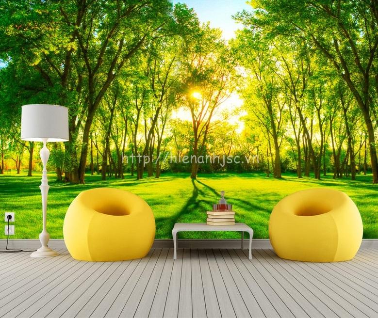 Tranh dán tường thiên nhiên bình minh rừng xanh