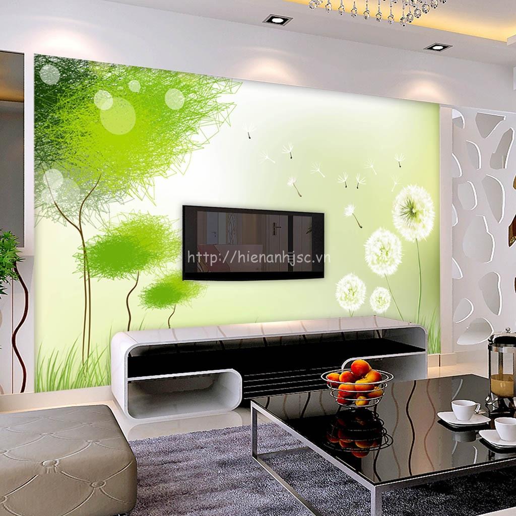 Tranh dán tường 5D - Tranh hoa bồ công anh phối cây xanh hiện đại 5D072